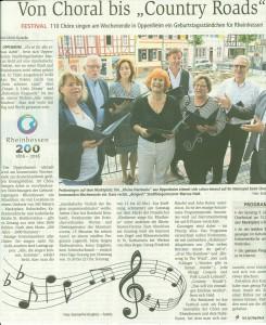 Großes Chorfestival in Oppenheim, 200 Jahre Rheinhessen - CHORisma ist dabei