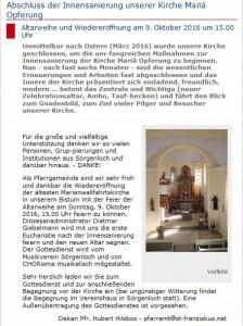 Altarweihe Sörgenloch