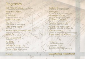 Programm Jubiläumskonzert Juni 2016